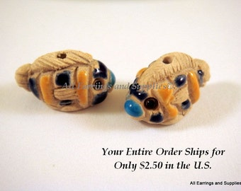 SALE - 2 Ceramic Fish Beads Hand Painted Glazed Yellow and Blue 20x12mm - 2 pc - 6188-AG