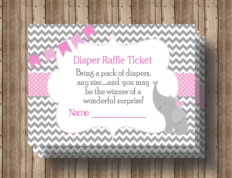diaper raffle ticket baby shower pink gray chevron instant