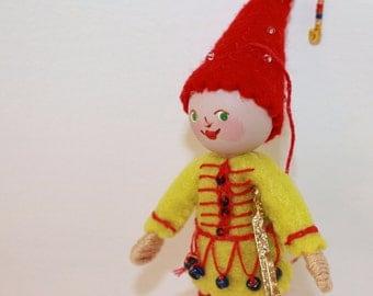 Felt Art Doll Hand embroidered Pixie, felt bendy dolls, felt pixies, felt decorations, handmade felt ornaments
