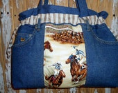 Horse Race  Purse Tote Bag Laptop Bag One of a Kind