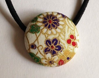 Cotton Fabric Covered Hair Tie (Medium Size), Japanese Accessory, Ponytail Holder,  Women's Hair Accessory, Flower