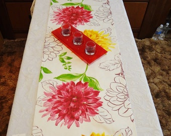 "Table Runner/ Bed Throw- White with Fushchia & Yellow Dahlias - One-of-a-Kind - Table Decor - 70"" x 16"" - Item TR268004"