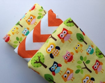 Yellow Hoots Baby Burp Cloth Set (3)