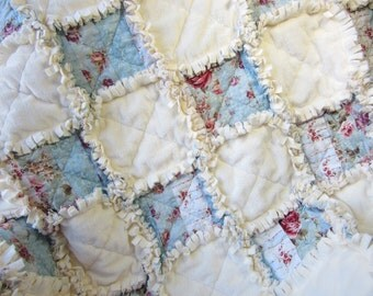Blue Baby Girl Rag Quilt, Shabby Cottage Chic Baby Quilt, Minky Baby Quilt, Baby Blanket, Patchwork Baby Quilt, Ivory Shabby Baby Quilt