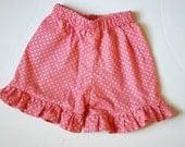 Girls Ruffle Shorts custom made sizes 6-12 months, 12-18 months,2t, 3t, 4t, 5y, 6Y, 7y, 8y