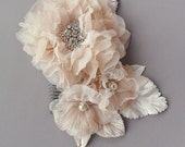 Blush Pink Bridal Hair Comb Silk Triple Floral Leaf Wedding Comb with Pearl and Rhinestone - Cyber Monday Sale