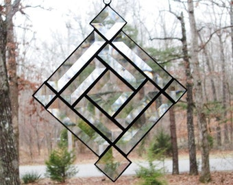 Stained Glass Suncatcher, Beveled Clear Glass Square