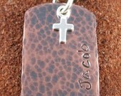 Personalized (Any Name & Date) Holy Communion, Baptism, Christening-Copper Double Sided Necklace with Sterling Cross