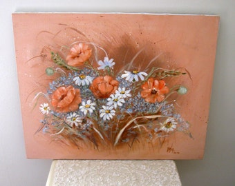 Vintage Painting on Canvas Floral Still Life - Daisies and Forget Me Nots - Oil or Acrylic