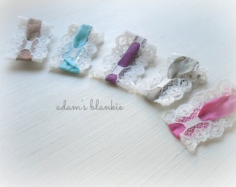 Vintage Style Couture Hair Clips - Cream Lace and CHOICE OF 3 COLORS - Infant Baby Girls Adults