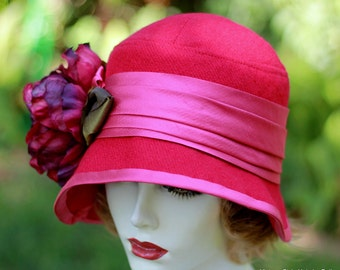 1920's Trendy  Wool Cloche Hat Downton Abbey Fuchsia Pink Raspberry Red Size Large