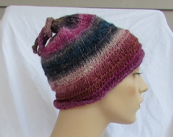 Hat, striped, ribs, I cord tails, multicolor, soft, C, handmades