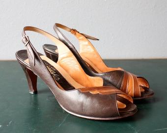 vintage pumps 8.5, 9 / peep toe heels / strappy slingback heels