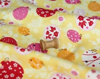 3835 - Japanese Kimono Goldfish Lantern Floral Slubbed Cotton Fabric - 43 Inch (Width) x 1/2 Yard (Length)