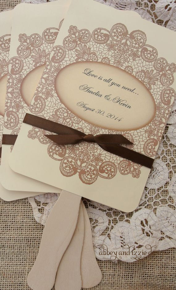 Wedding Favors Wedding Fans Rustic By Abbeyandizziedesigns