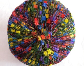 Berlini Ladder Ribbon Yarn,  RAINBOW, jewel tones of red green blue purple, trellis yarn, 124
