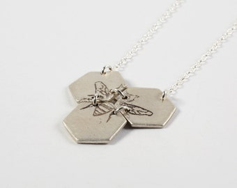 Honeycomb Necklace - Silver Hexagon Necklace - Bee Necklace - Silver Bee