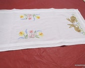 RESERVED FOR ORHIDEE27Bunny rabbit and flowers Table runner.