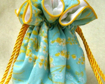 Ethereal Summer Skies Jewelry Bag Pouch in sky blue and gold