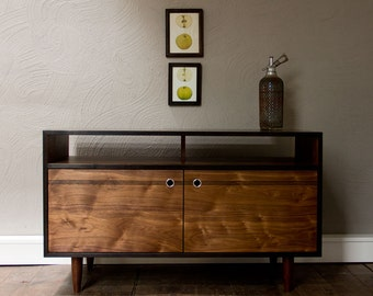 Burnt Media Console - Oxidized Black Walnut TV Console with Aluminum pulls - TV Stand - Credenza