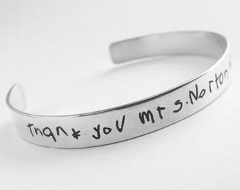 Handwriting Cuff Bracelet 1/4in wide, Writing on silver, personalized gift, handwriting on silver cuff, handwriting jewelry, Valentine's Day
