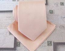 Tie + Pocket Square. Peach Mens Tie. Pastel Peach Pale Apricot Necktie and Matching Pocket Square Set