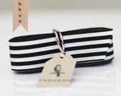 Black and Ivory Stripe Grosgrain Ribbon 7/8""