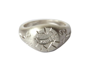 Tattoo Signet Ring, Sterling Silver, Hand Engraved, Personalised to Order, Made in Brighton, uk