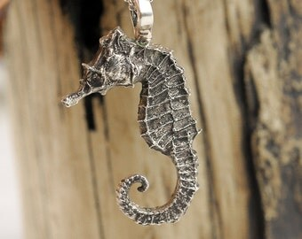 Silver Seahorse Necklace Pendant Sterling Sea Horse