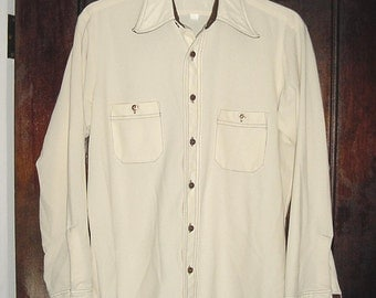 Vintage 70s Mens Beige Poly Knit Long Sleeve Shirt M As Is