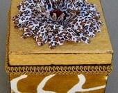 Giraffe Safari Flocked Animal Print Keepsake Decorative Box