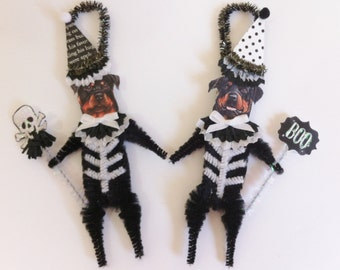 Rottweiler SKELETON Halloween vintage style CHENILLE ORNAMENTS set of 2