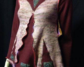 Repurposed Sweater Recycled Patchwork Burgundy Mauve Woman Swingy Appliqué Hippie Boho Fantasy Pixie Wearable Fiber Art Woman Natural Fiber