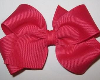 Medium Basic Grosgrain Hair Bow in Shocking Pink
