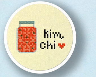Kimchi. 2 Patterns Included - Korean Food Modern Simple Cute Cross Stitch Pattern. PDF File