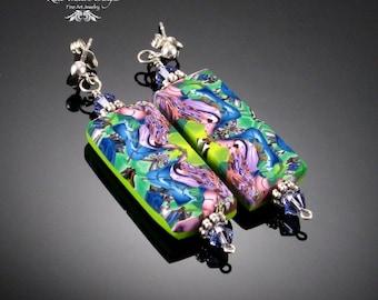 Natasha Tile Earrings, Lime Green, Plum Purple, Cornflower Blue, Polymer Clay