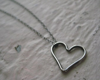 Sterling Silver Floating Heart Necklace- Charm, Oxidized, Rustic, Organic