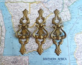 SALE! 3 ornate brass metal pull handles with curvy trimplates