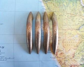SALE! 4 vintage slim curved very distressed silvery metal handles