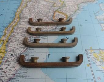 SALE! 4 slim Art Deco distressed metal handles