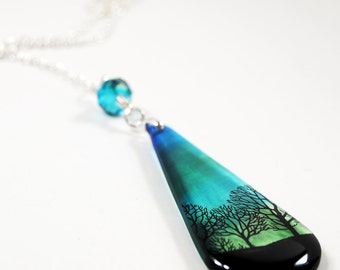 green sky, tree silhouettes , resin necklace, teardrop ,blue green, tornado sky,gift under 25