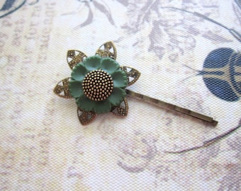 Flower Bobby Pin, Button, Olive Green, Nature Inspired, Filigree, Recycled, Woodland, Bohemian Hair Pin, Flower Hair Pins, Button Bobby Pin