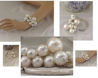 big pearl bracelet chunky pearl bracelet for brides, bridesmaids gift