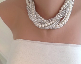 Braided Ivory Italian glass pearls bridal necklace brides,bridesmaids