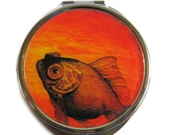 Goldfish Compact Mirror Pocket Mirror Large