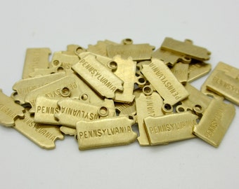Pennsylvania State Charm, Raw Brass, 5 pieces, Made in the USA