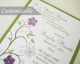 Customizable Birds and Flowers in a Tree Invitations