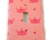 Pink Crown Light Switch Cover Wall Decor  Single Switch Plate Switchplate in Princess  (205S)