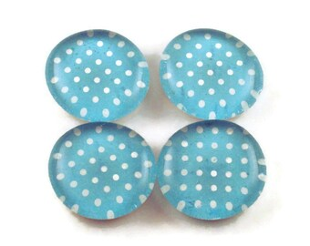 Funky Refrigerator Magnets Glass Marble Magnets in  Blueberry  Polka Dots (M95)