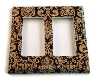 Double Rocker Switch Plate Light Switch Cover Wall Decor Light Switchplate  in Brown and Cream Damask (221DR)